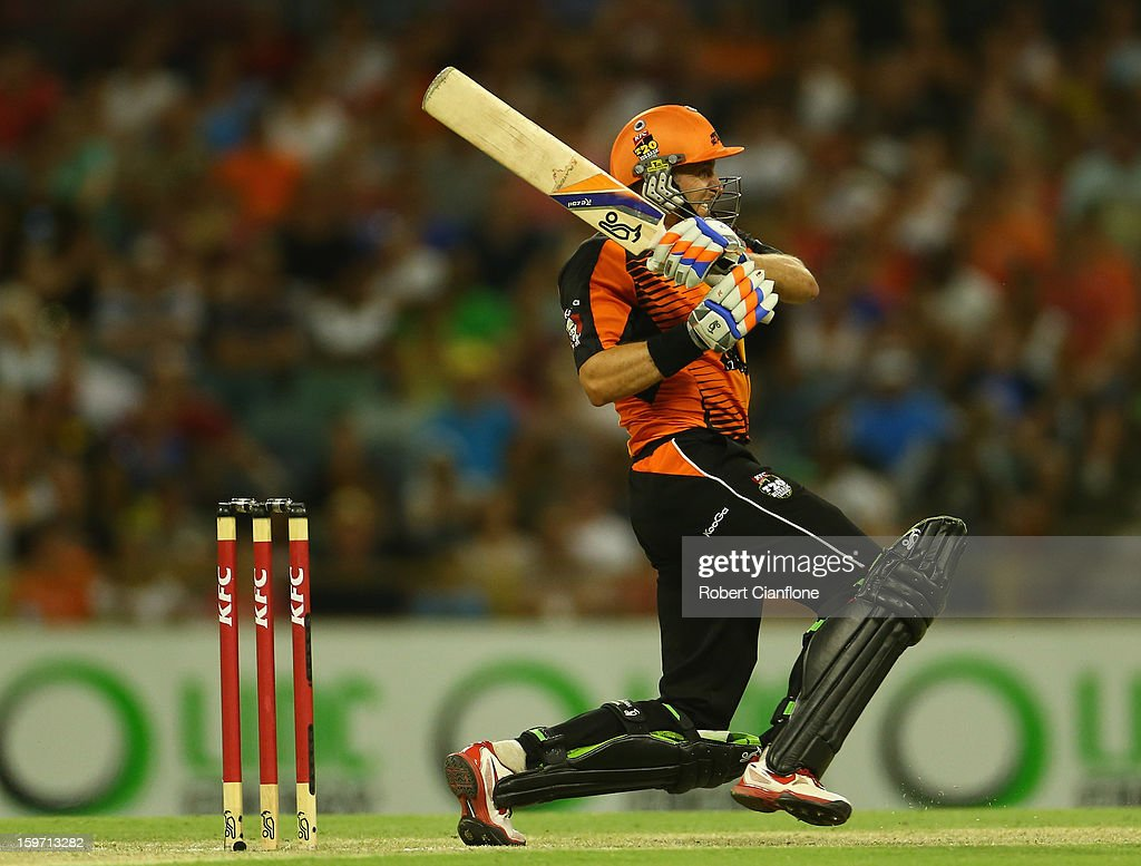 Michael Hussey of the Scorchers bats during the Big Bash League final match between the Perth Scorchers and the Brisbane Heat at WACA on January 19, 2013 in Perth, Australia.