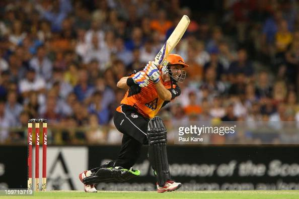 Michael Hussey of the Scorchers bats during the Big Bash League final match between the Perth Scorchers and the Brisbane Heat at the WACA on January...