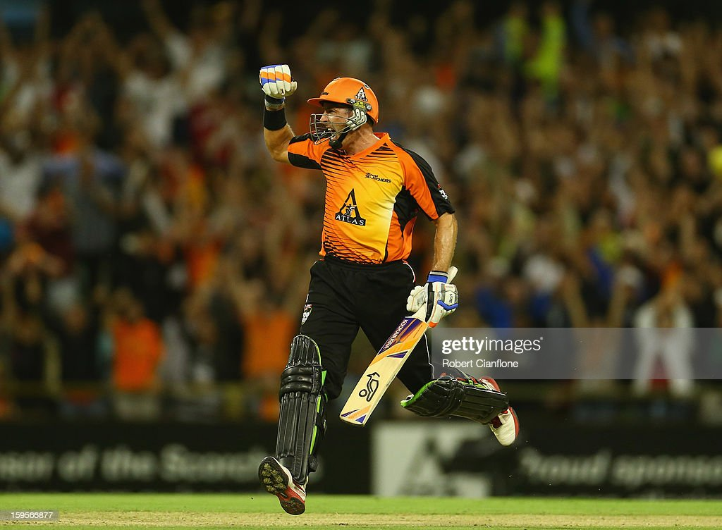 Michael Hussey of the Scorchers celebrates after he scored the winning run during the Big Bash League semi-final match between the Perth Scorchers and the Melbourne Stars at the WACA on January 16, 2013 in Perth, Australia.