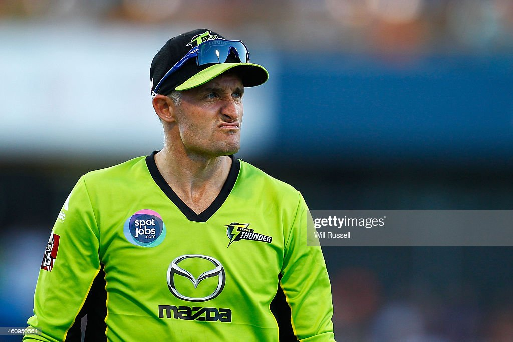 <a gi-track='captionPersonalityLinkClicked' href=/galleries/search?phrase=Michael+Hussey&family=editorial&specificpeople=171690 ng-click='$event.stopPropagation()'>Michael Hussey</a> of the Thunder looks on during the Big Bash League match between the Perth Scorchers and Sydney Thunder at WACA on January 1, 2015 in Perth, Australia.