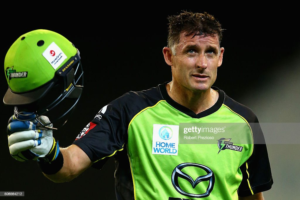 <a gi-track='captionPersonalityLinkClicked' href=/galleries/search?phrase=Michael+Hussey&family=editorial&specificpeople=171690 ng-click='$event.stopPropagation()'>Michael Hussey</a> of the Thunder walks off after being dismissed by Adam Zampa of the Stars during the Big Bash League final match between Melbourne Stars and the Sydney Thunder at Melbourne Cricket Ground on January 24, 2016 in Melbourne, Australia.
