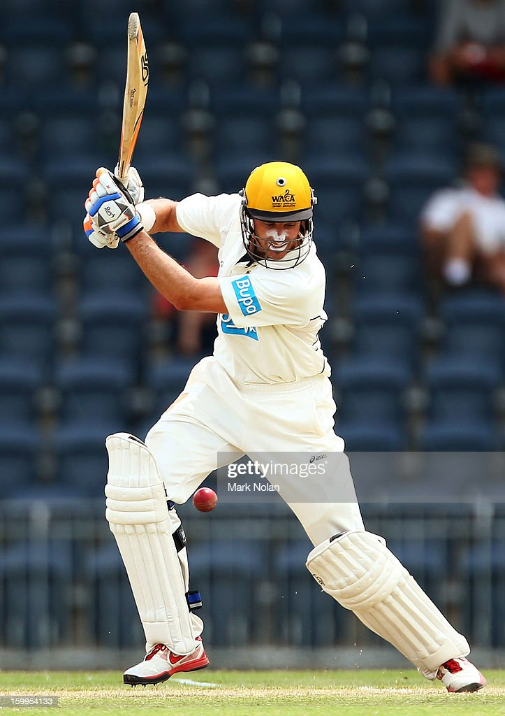 Michael Hussey of the Warriors bats during day one of the Sheffield Shield match between the New South Wales Blues and the Western Australia Warriors at Blacktown International Sportspark on January 24, 2013 in Sydney, Australia.