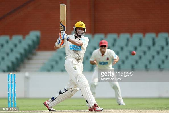 Michael Hussey of the Warriors bats during day two of the Sheffield Shield match between the South Australian Redbacks and the Western Australia...