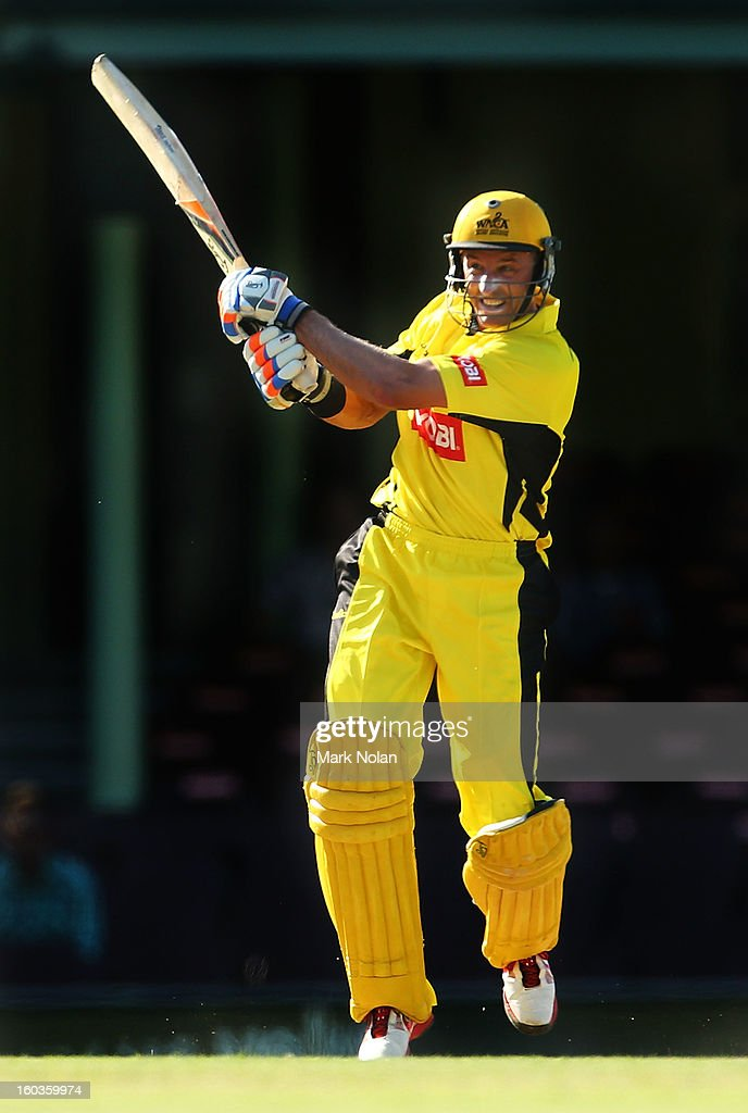 Michael Hussey of the Warriors bats during the Ryobi One Day Cup match between the New South Wales Blues and the Western Australia Warriors at Sydney Cricket Ground on January 30, 2013 in Sydney, Australia.