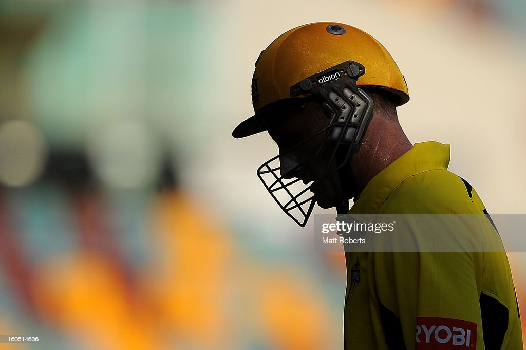 Michael Hussey of the Warriors looks dejected as he leaves the field during the Ryobi One Day Cup match between the Queensland Bulls and the Western Australia Warriors at The Gabba on February 2, 2013 in Brisbane, Australia.