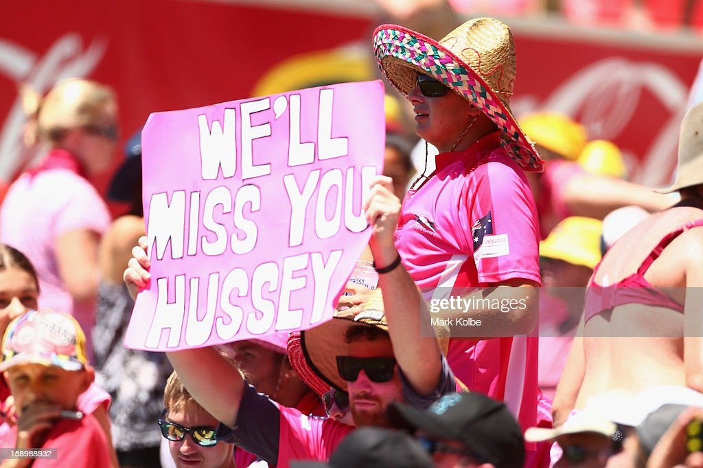 A Michael Hussey supporter holds up a sign during day three of the Third Test match between Australia and Sri Lanka at Sydney Cricket Ground on January 5, 2013 in Sydney, Australia.
