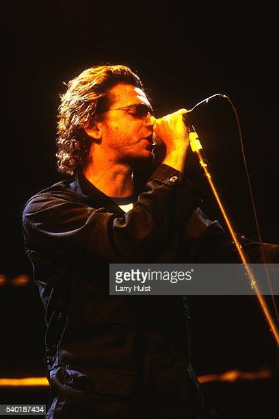 Michael Hutchence is performing with 'INXS' at the U S Air Force Academy in Colorado Springs CO on April 1 1994