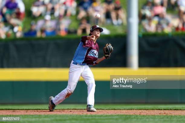 Michael Iannazzo of the New England team from Connecticut throws to first base during Game 2 of the 2017 Little League World Series against the...