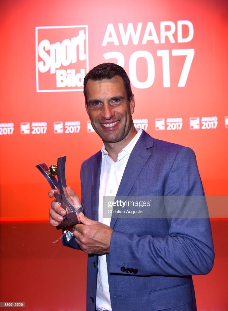 Michael Ilgner of the 'Deutsche Sporthilfe' wins the Special Award during the Sport Bild Award at the Fischauktionshalle on August 21, 2017 in Hamburg, Germany.