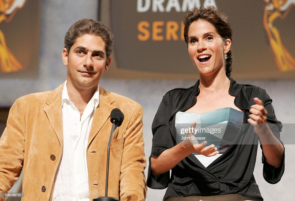 Michael Imperioli and Jami Gertz during 57th Annual Primetime Emmy Awards Nominations at Leonard H Goldenson Theatre in North Hollywood California...