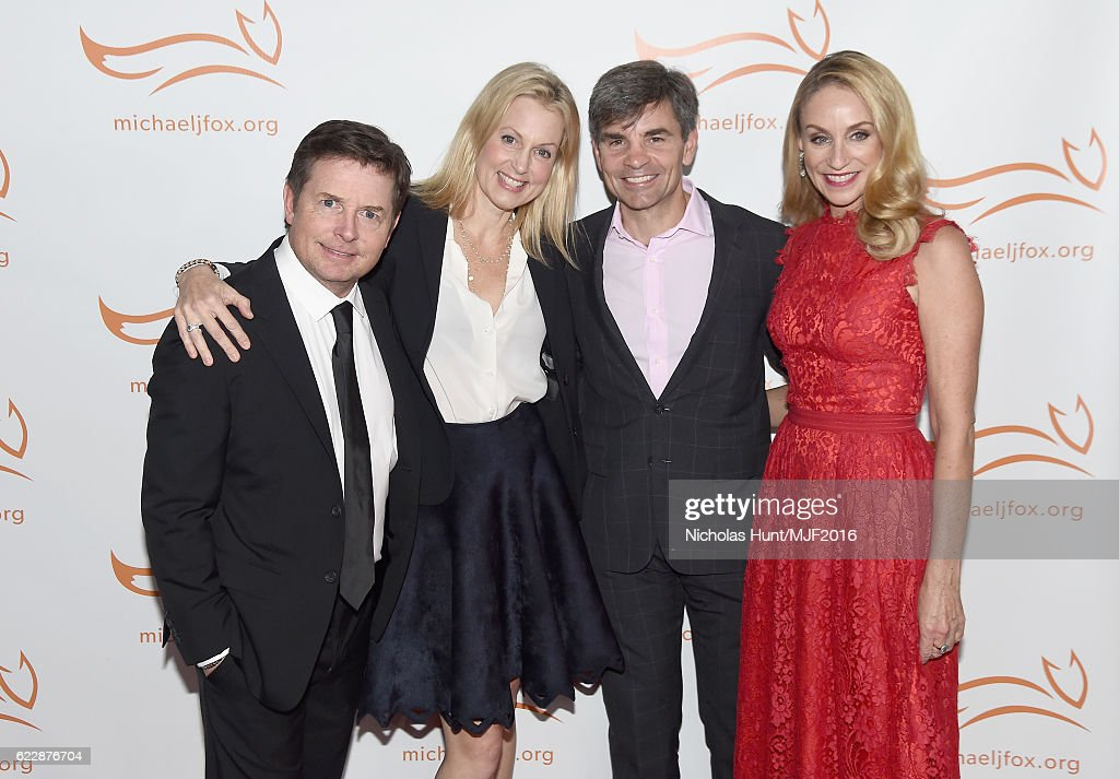 Michael J. Fox, Alexandra Wentworth, George Stephanopoulos, and Tracy Pollan attend Michael J. Fox Foundation's 'A Funny Thing Happened On The Way To Cure Parkinson's' gala at The Waldorf=Astoria on November 12, 2016 in New York City.
