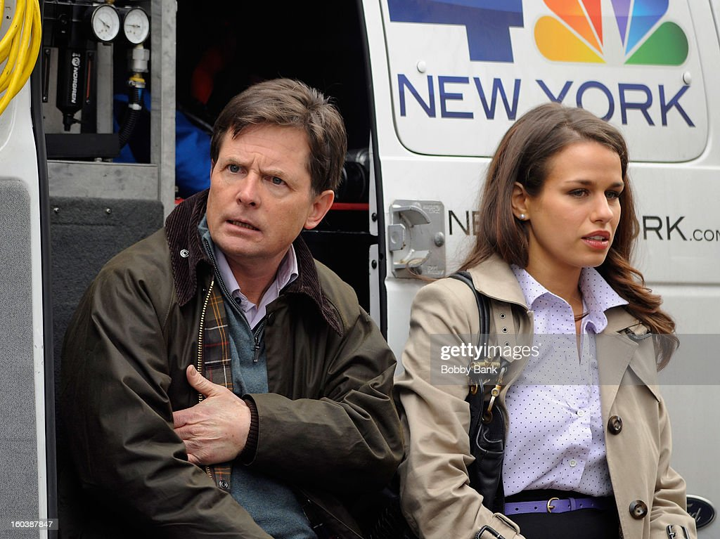 <a gi-track='captionPersonalityLinkClicked' href=/galleries/search?phrase=Michael+J.+Fox&family=editorial&specificpeople=208846 ng-click='$event.stopPropagation()'>Michael J. Fox</a> and Ana Nogueira On Location For '<a gi-track='captionPersonalityLinkClicked' href=/galleries/search?phrase=Michael+J.+Fox&family=editorial&specificpeople=208846 ng-click='$event.stopPropagation()'>Michael J. Fox</a> Project' on January 30, 2013 in New York City.