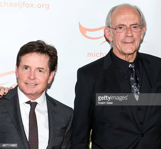 Michael J Fox and Christopher Lloyd attend the Michael J Fox Foundation's 'A Funny Thing Happened On The Way To Cure Parkinson's' Gala at The...