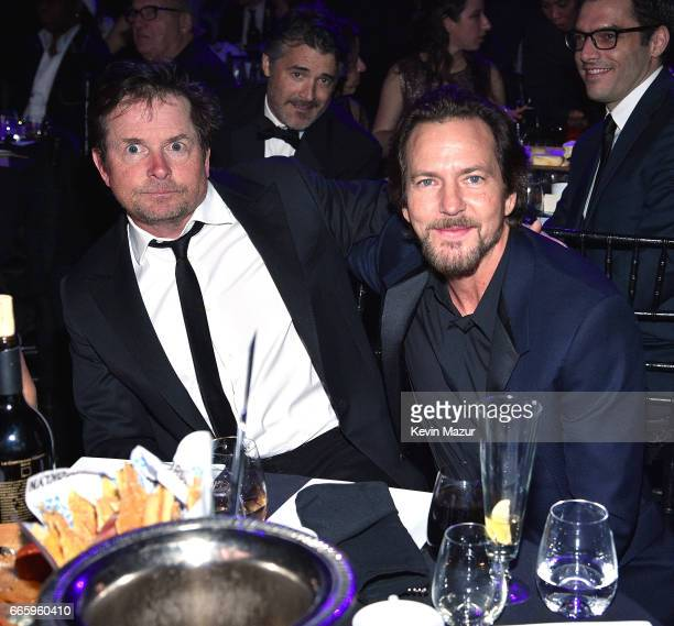Michael J Fox and Eddie Vedder attend 32nd Annual Rock Roll Hall Of Fame Induction Ceremony at Barclays Center on April 7 2017 in New York City The...