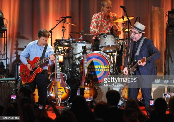 Michael J Fox and Elvis Costello perform onstage at the 2012 A Funny Thing Happened On The Way To Cure Parkinson's event at The Waldorf=Astoria on...