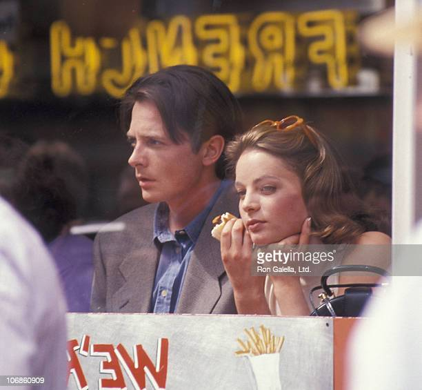Michael J Fox and Gabrielle Anwar during Michael J Fox and Gabrielle Anwar on Location of 'For Love or Money' May 4 1992 at Broadway and 7nd Street...