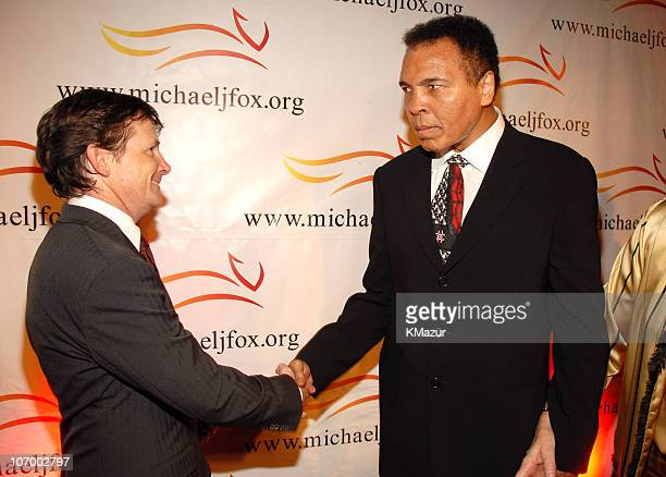 Michael J Fox and Muhammad Ali during 'A Funny Thing Happened on the Way to Cure Parkinson's' 2006 Benefit for The Michael J Fox Foundation Red...