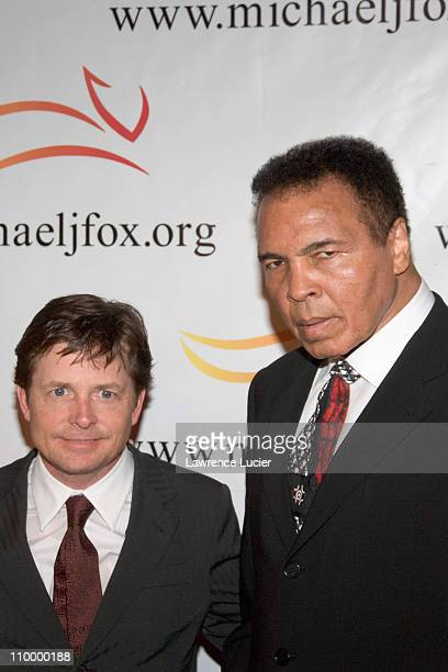 Michael J Fox and Muhammad Ali during A Funny Thing Happened on the Way to Cure Parkinson's A Benefit Evening for The Michael J Fox Foundation for...