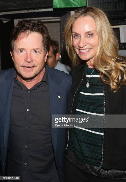 Michael J Fox and Tracy Pollan pose backstage at the hit musical 'Come From Away' on Broadway at The Gerald Schoenfeld Theatre on October 26 2017 in...