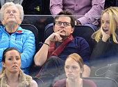 Michael J Fox attends the Philadelphia Flyers vs New York Rangers game at Madison Square Garden on November 19 2014 in New York City