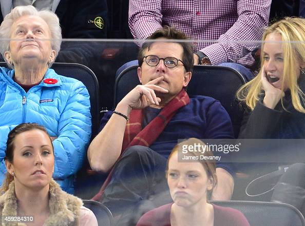 Michael J Fox attends the Philadelphia Flyers vs New York Rangers game at Madison Square Garden on November 19 2014 in New York City