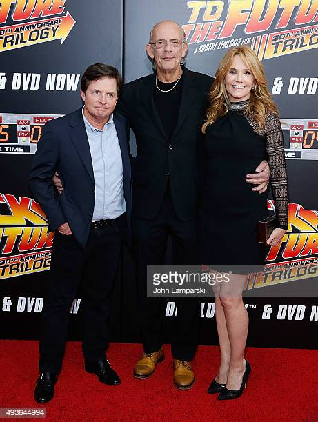 Michael J Fox Christopher Lloyd and Lea Thompson attend 'Back To The Future' New York special anniversary screening at AMC Loews Lincoln Square on...