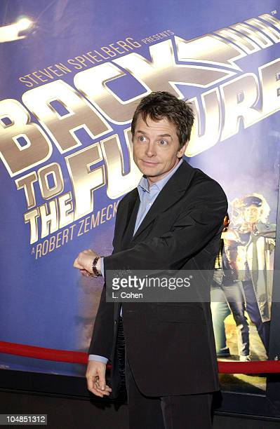 Michael J Fox during 'Back To The Future' Reunion And DVD Launch Party at Universal backlot in Universal City California United States