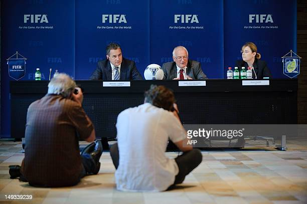 Michael J Garcia Chairman of the investigatory chamber of the FIFA Ethics Committee and HansJoachim Eckert Chairman of the adjudicatory chamber of...