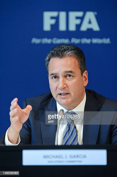 Michael J Garcia Chairman of the investigatory chamber of the FIFA Ethics Committee answers to journalists during a press conference at the FIFA's...