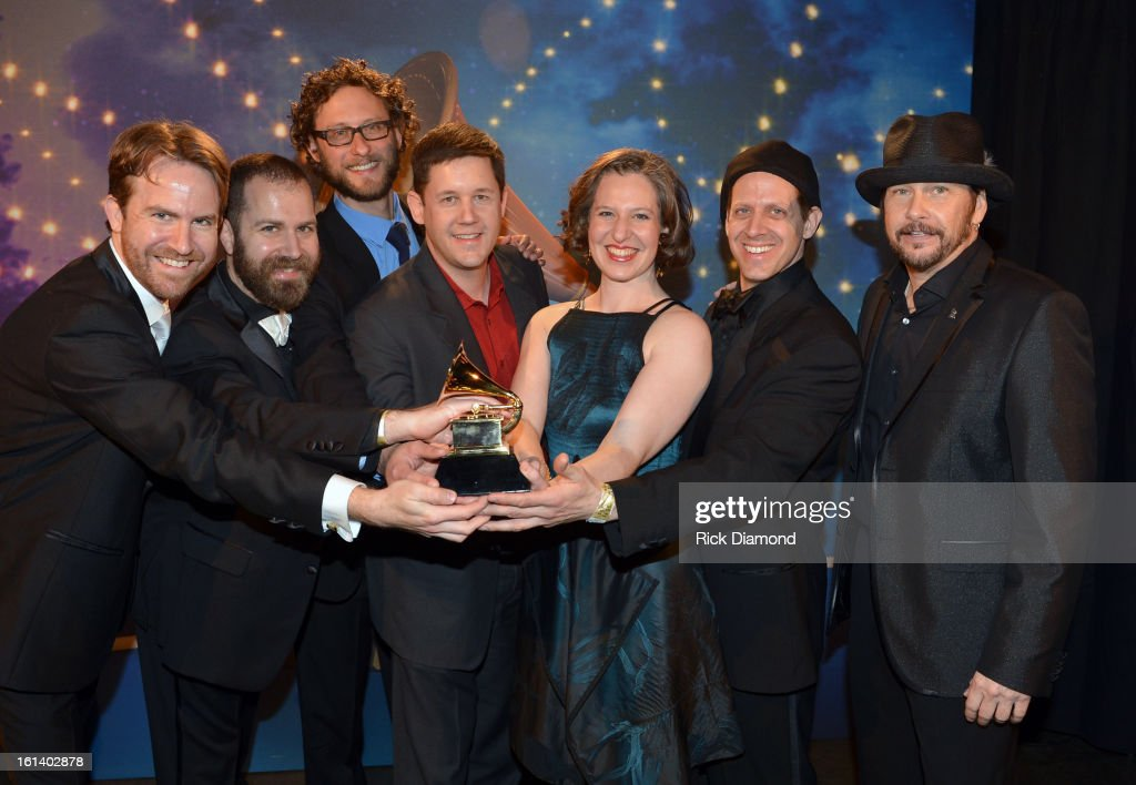Michael J. Maccaferri, Nicholas Photinos, Tim Munro, Lisa Kaplan and Matthew Duvall of the Eighth Blackbird pose during the 55th Annual GRAMMY Awards Pre-Telecast at Nokia Theatre L.A. Live on February 10, 2013 in Los Angeles, California.