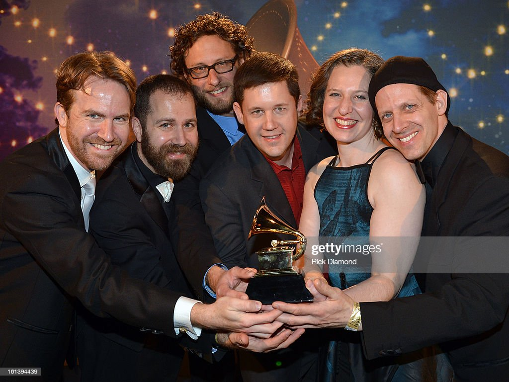 Michael J. Maccaferri , Timothy Munro, Nicholas Photinos, Lisa Kaplan and Matthew Duvall of Eighth Blackbird pose during the 55th Annual GRAMMY Awards Pre-Telecast at Nokia Theatre L.A. Live on February 10, 2013 in Los Angeles, California.