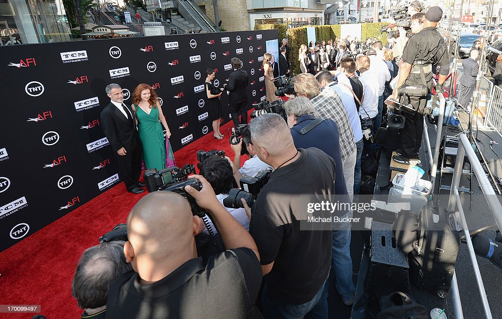 Michael J. Plonsker and actress Amy Yasbeck attend AFI's 41st Life Achievement Award Tribute to Mel Brooks at Dolby Theatre on June 6, 2013 in Hollywood, California. 23647_002_MB_0429.JPG