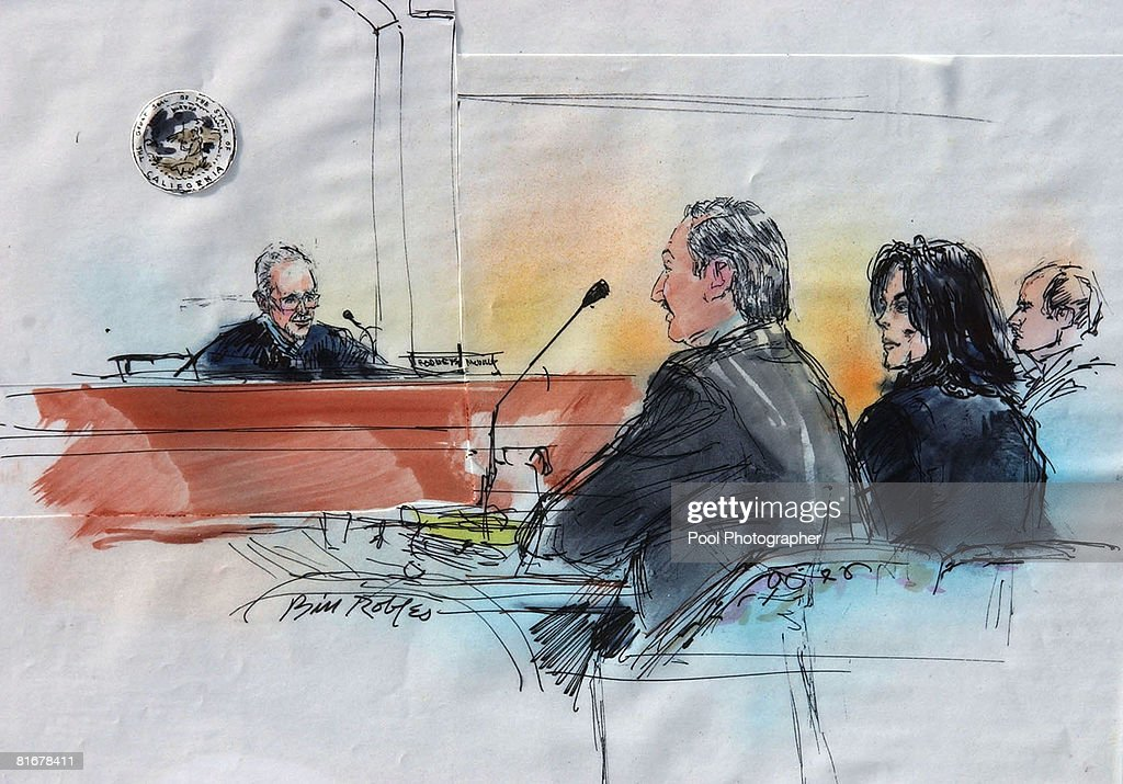 Michael Jackson and attorney Mark Geragos Artwork by Bill Robles