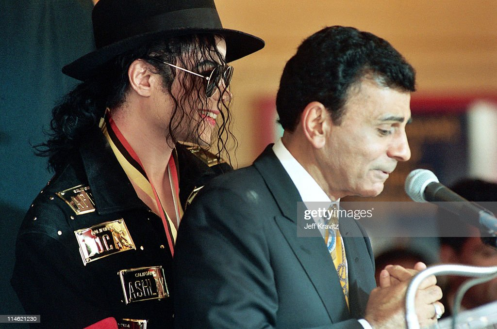 Michael Jackson and Casey Kasem during Michael Jackson is Honored With Hollywood Walk of Fame in Hollywood, CA, United States.