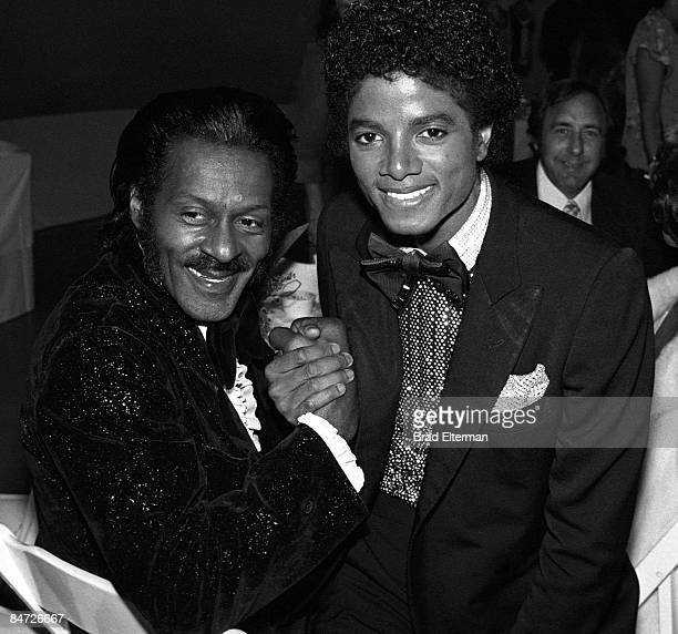 LOS ANGELES JANUARY 01 1978 Michael Jackson and Chuck Berry at an Grammy Awards reception at Chasen's restaurant circa 1978 in Los Angeles...