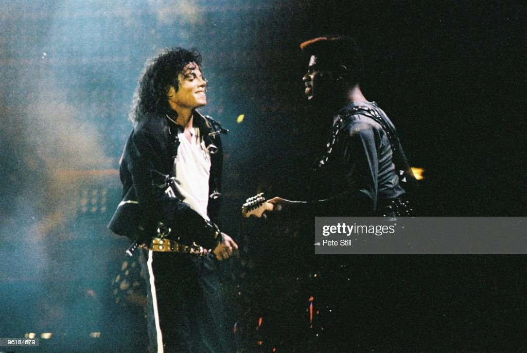 Michael Jackson and David Williams perform on stage on his BAD tour at Wembley Stadium on July 3rd 1988 in London United Kingdom