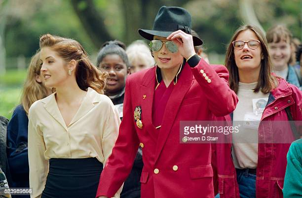 Michael Jackson and his wife Lisa Marie Presley at Neverland Ranch in preparation of the Children's World Summit