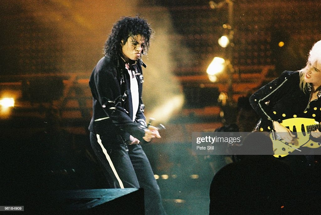 Michael Jackson and Jennifer Batten perform on stage on his BAD tour at Wembley Stadium on July 3rd 1988 in London United Kingdom