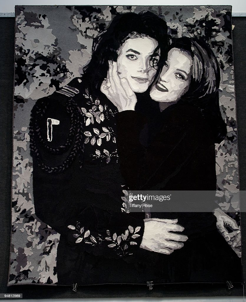 A Michael Jackson and Lisa Maria Presley enormous customized area rug (1994) at the Auction Preview At Bonhams & Butterfields on December 18, 2009 in Los Angeles, California.
