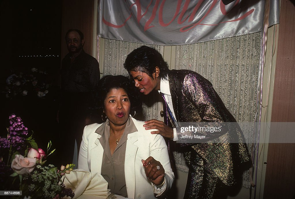 <a gi-track='captionPersonalityLinkClicked' href=/galleries/search?phrase=Michael+Jackson&family=editorial&specificpeople=70011 ng-click='$event.stopPropagation()'>Michael Jackson</a> attends his mother <a gi-track='captionPersonalityLinkClicked' href=/galleries/search?phrase=Katherine+Jackson+-+Jackson+Family&family=editorial&specificpeople=201779 ng-click='$event.stopPropagation()'>Katherine Jackson</a>'s birthday party on May 4, 1984 at a private location in Los Angeles, California.