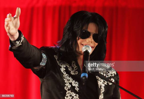 Michael Jackson gestures as he announces plans for Summer residency at the O2 Arena at a press conference held at the O2 Arena on March 5 2009 in...