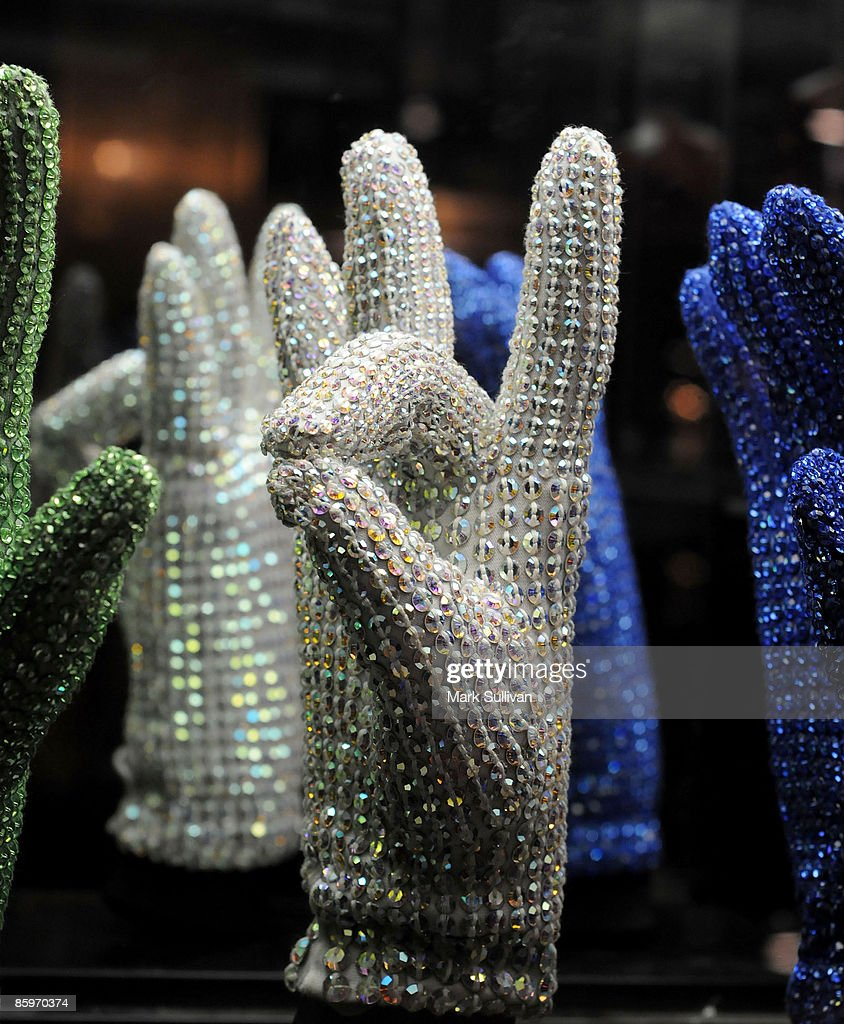 Michael Jackson glove display at the press preview for Michael Jackson's Julien's Auctions Exhibit on April 13, 2009 in Beverly Hills, California.