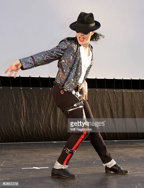 Michael Jackson impersonator Pete Carter performs during the drivein presentation of 'Thriller' during the 2008 Tribeca Film Festival on April 24...