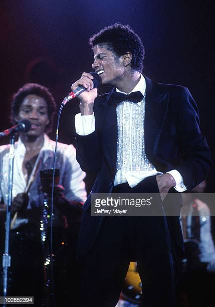 Michael Jackson in concert during The Jacksons 'Triumph Tour' in September 1981 at The Forum in Los Angeles California