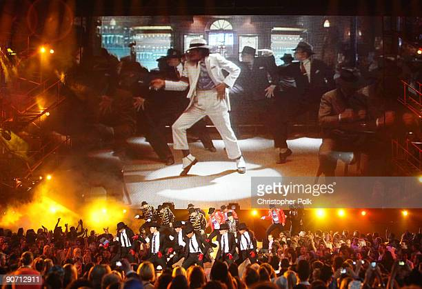 Michael Jackson is seen on the video screen during the 2009 MTV Video Music Awards at Radio City Music Hall on September 13 2009 in New York City