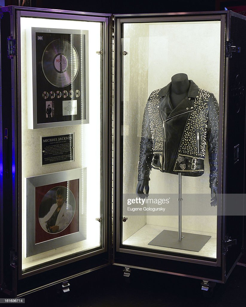 Michael Jackson memorabilia at the 'Gone Too Soon' and 'Music Gives Back' Media Preview Day at the Hard Rock Cafe, Times Square on February 13, 2013 in New York City.