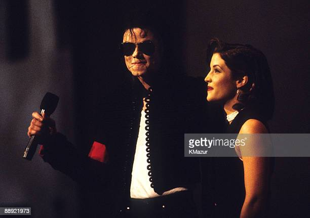Michael Jackson on stage with Lisa Marie Presley at Radio City Music Hall during the MTV Video Music Awards on September 8 1994 in New York City
