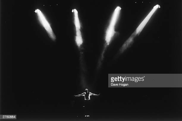 Michael Jackson performs on stage during his 'BAD' concert tour held at Wembley Stadium London on the 15th of July 1988While performing in London...