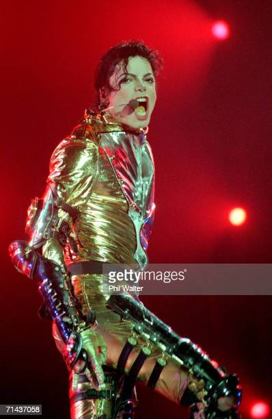 Michael Jackson performs on stage during is 'HIStory' world tour concert at Ericsson Stadium November 10 1996 in Auckland New Zealand