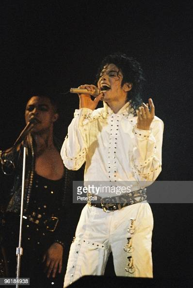Michael Jackson performs on stage on his BAD tour at Wembley Stadium on July 3rd 1988 in London United Kingdom